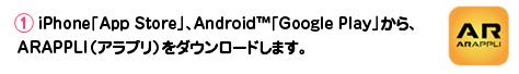 【1】iPhone「AppStore」、Android「GooglePlay」から、ARAPPLI(アラプリ)をダウンロードします。